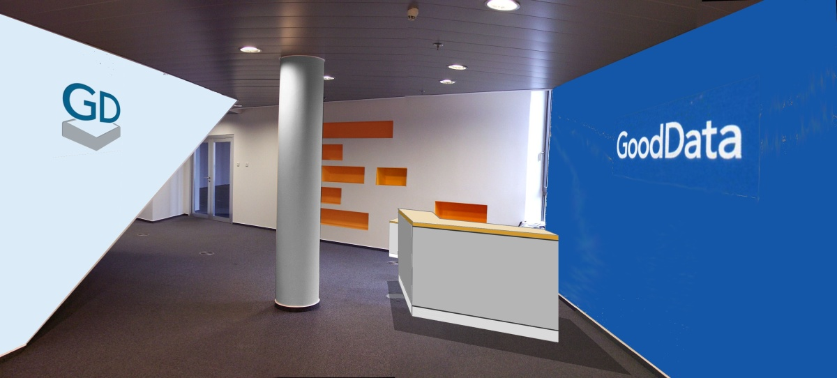 Návrh firemní vstupní haly - administrativní komplex Praha 8